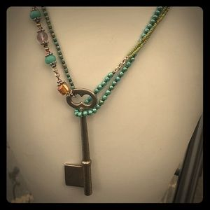 Jewelry - Crystal necklace with antique pendant